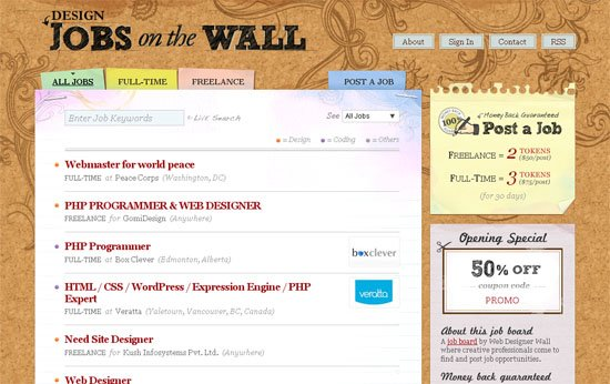 Design Jobs on the Wall - screen shot.