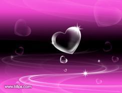 Photoshop制作漂亮的心形泡泡