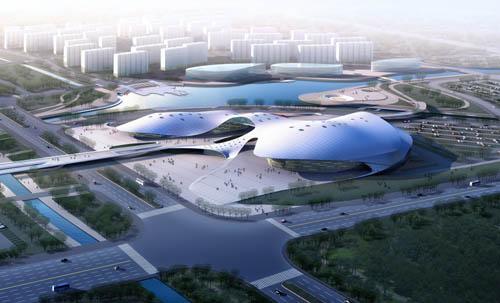 主体钢结构部分采用了先进的双层环形张弦穹顶结构,主跨度达到了98米