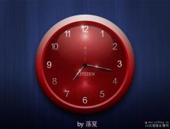 Photoshop制作一个漂亮的红色水晶壁钟