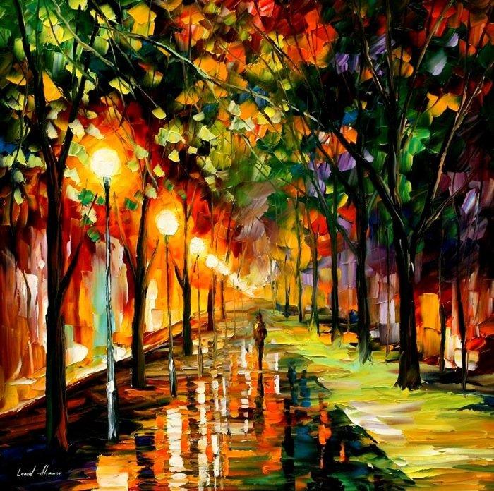 leonid afremov都市风景油画作品