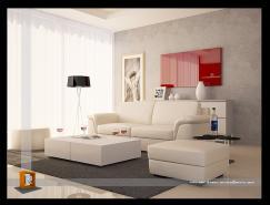 紅白配:極富吸引力的起居室設計