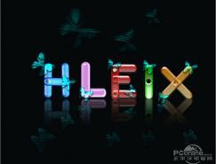 Photoshop制作合成的彩色水晶字