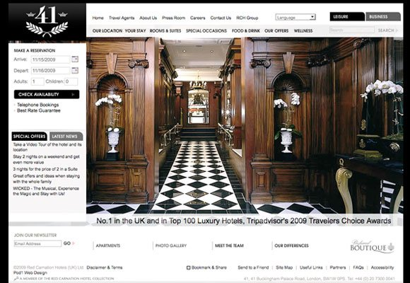 50个漂亮的酒店网站设计欣赏