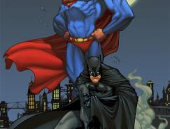 经典ω动漫人物插画:蝙蝠侠和超人□