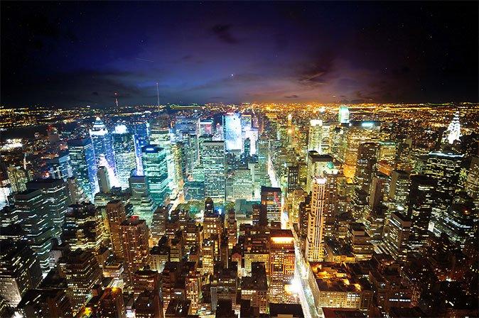 璀璨的城市夜景摄影