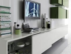 現代時尚的綠色&白色客廳設計欣賞