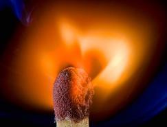 点燃的火柴火焰摄影作品欣赏