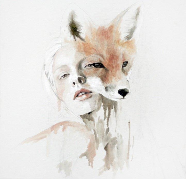 美女与动物:JenMann插画作品欣赏