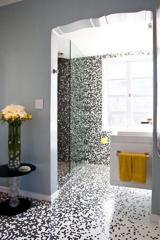 漂亮的浴室马赛克瓷砖镶嵌艺术 - 设计之家