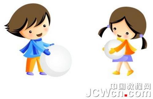 illustrator cs4鼠绘堆雪人的孩童矢量插画(2)