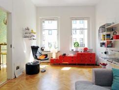 漂亮的顏色點綴白色裝修風格公寓