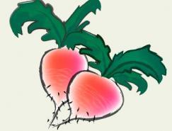 Illustrator绘制水彩效果萝卜