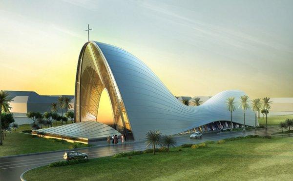 教堂设计:前卫的变形曲线建筑