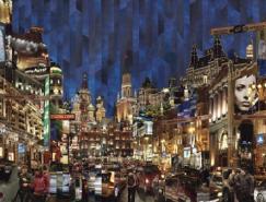俄罗斯艺术家SergeMendzhiyskogo现代城市拼贴艺术