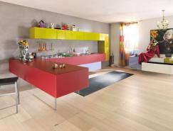 漂亮的厨房设计:色彩丰富的
