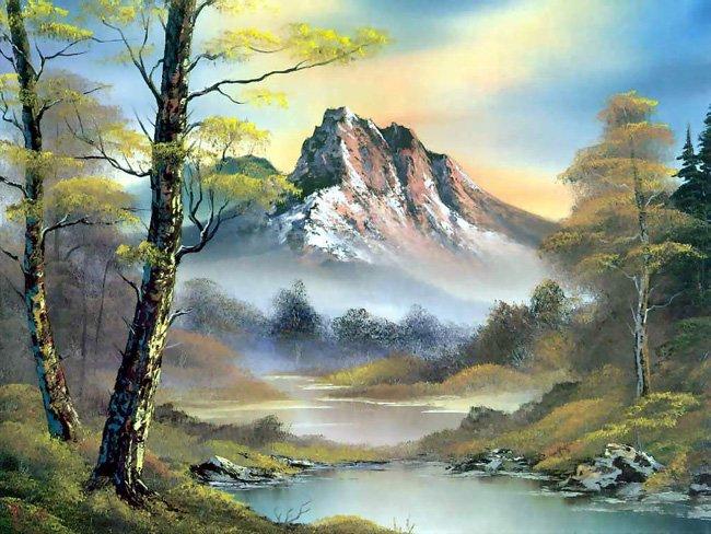 BobRoss风景油画作品