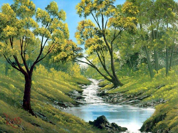 bob ross风景油画作品