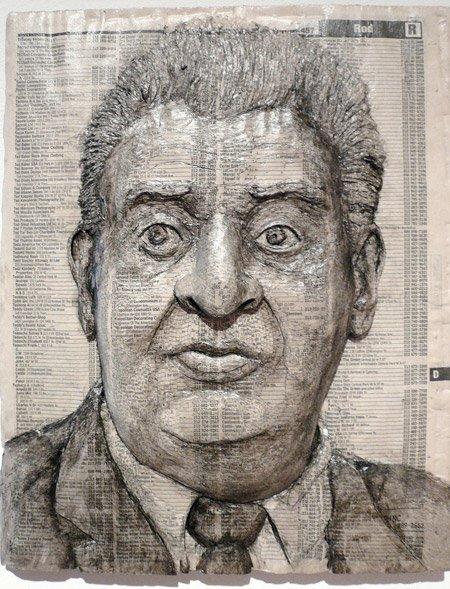 美国艺术家AlexQueral电话簿上刻印名人肖像