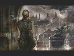 18張蒸汽朋克風格城市插畫欣賞
