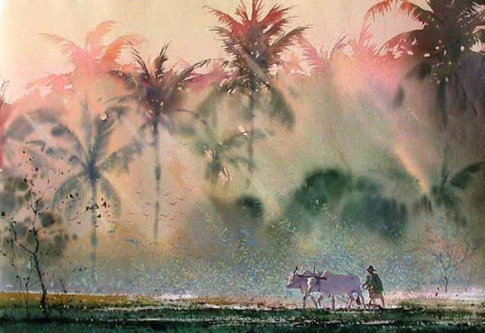 缅甸画家myoe win aung水彩画作品欣赏