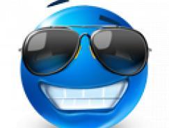 一套圆形蓝色表情png图标