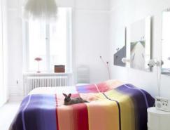 白色主題裝修家居中美麗的色彩點綴