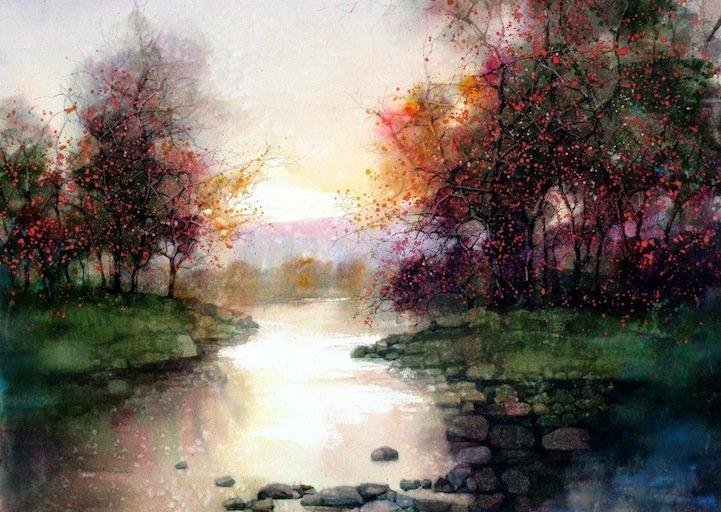 l. feng美丽的水彩风景画欣赏
