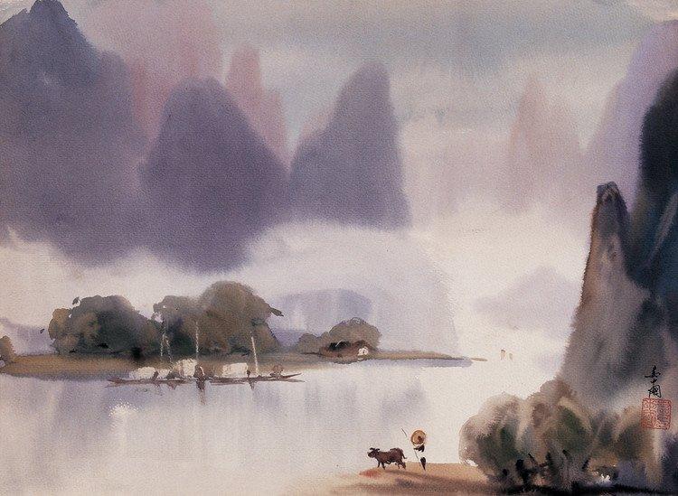 桂林山水风景美术作品内容桂林山水风景美术作品