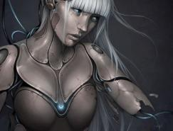 数字艺术作品:女性机器人