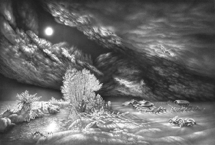 Дерево рисунок чб 3