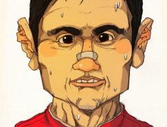 韩国插画师sakiroo:足球运动员人像漫画