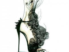 AchrafAmiri怪异的时尚鞋子插画设计