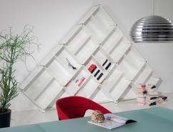 纯白时尚:多功能自由组合书柜设计