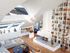 超高的顶层阁楼:斯德哥尔摩复式公寓设