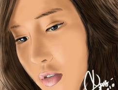 美丽的女性人物喷枪绘画作品