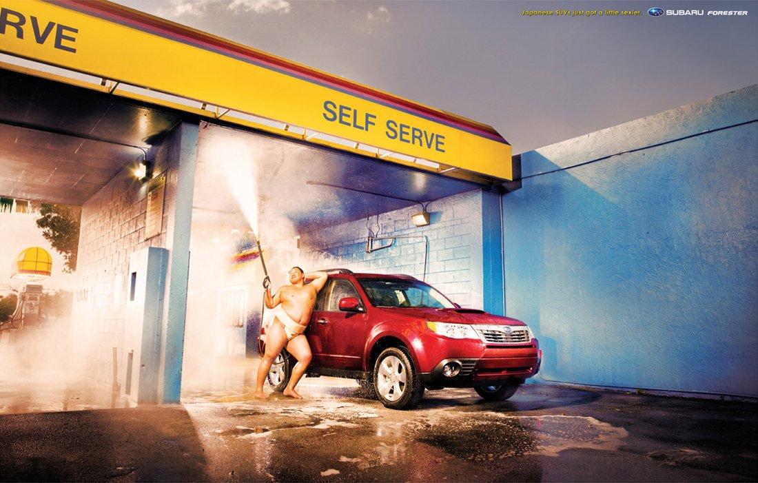 斯巴鲁汽车广告 真的很难想象,斯巴鲁竟然会请来相扑手来当高清图片