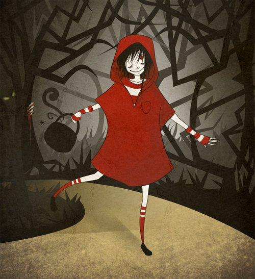 童话故事:小红帽插画作品