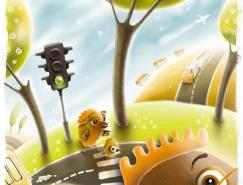 FilDunsky作品:儿童交通安全广告插画