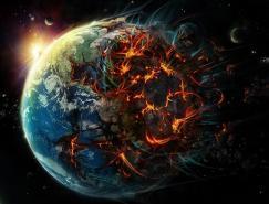 灾难场景插画:世界末日