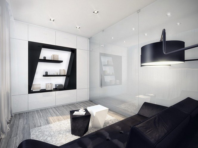 公寓设计:未来派的黑与白
