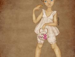 乌克兰carivna可爱漂亮的女孩插画