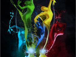 Photoshop合成五彩缤纷的油漆舞者