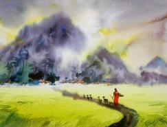 印度Elayaraja水彩绘画作品
