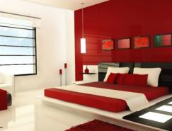 红色系卧室设计欣赏