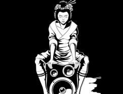 HipGeisha黑白插画欣赏