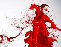 人物摄影:彩色的液体喷溅
