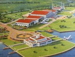 懷舊欣賞:機場和飛機的老式明信片設計