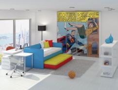 漫画海报:可爱的儿童房设计