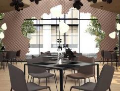 花朵形状装饰的Hollow餐厅